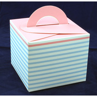 Cupcake Box Blue Stripe with Pink Top (10)