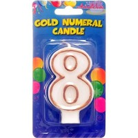 Candle - Numeral 8 Gold Edge  (1)