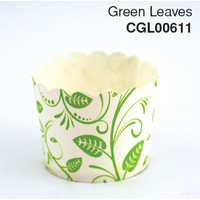 Cup Cake Case  Green Leaves (Tube 25)