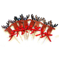 Cupcake Toppers Rudolph Pkt 8