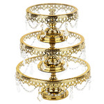 Le Gala 3 piece Glass - Gold Cake Stand Set