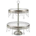 Anastasia 2 Tier 10/12 inch Silver Cupcake Stand