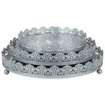 Sophia Silver Cake Tray Set of 3