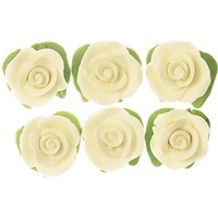 Cupcake Rose W/Leaves White H/sell 25mm (6pk)