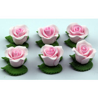 Cupcake Rose W/Leaves Pink 25mm H/sell (6pk)