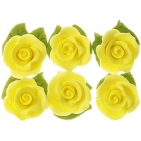 Cupcake Rose W/Leaves Lemon 25mm H/sell (6pk)