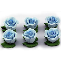 Cupcake Rose w/Leaves Blue 25mm H/sell (6pk)