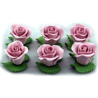 Cupcake Rose W/Leaves 2.5cm Mauve H/sell (Pk6)