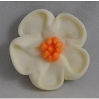 Flower Large White 5 Petal 33mm (128)