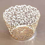 Cupcake Wrapper Metallic Silver Filigree (12)
