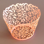 Cupcake Wrapper Pearl Pink Filigree (12)