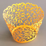 Cupcake Wrapper Pearl Gold Filligree (12)