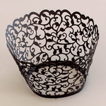 Cupcake Wrapper Black Black Filigree (12)