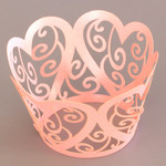 Cupcake Wrapper Pearl Pink Hearts (12)