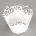Cupcake Wrapper Pearl White Cross (12)