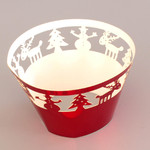 Cupcake Wrapper Metallic Red Christmas (12)