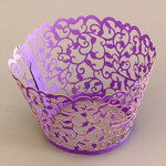 Cupcake Wrapper Pearl Purple Filigree (12)