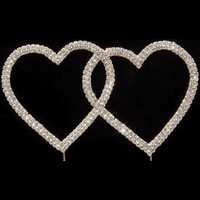 Bling Diamante 7cm Double Hearts