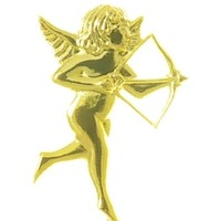Ornament  Cupid Bow/Arrow Gold (Pk 12)