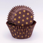 Patty Pan Choc/Gold Polka Dot 6x50pk (300)