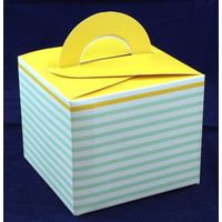 Cupcake Box Green Stripe Yellow Top (10)