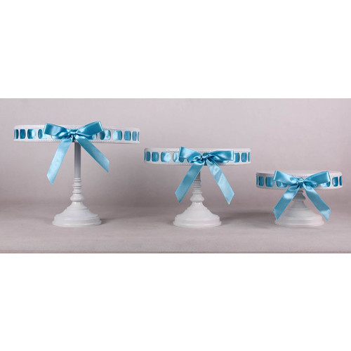 White/Blue Ribbon Set of 3 Tall Cake Stand