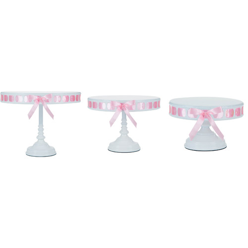 White/Pink Ribbon Set of 3 Tall Cake Stand