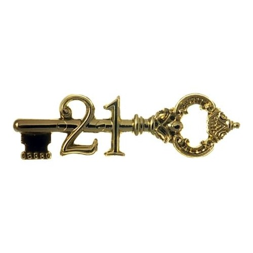 21st  Key  Antique 76mm Gold (Pk 24)