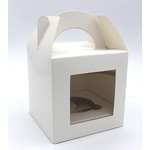 1 Hole Cupcake Box  WHITE - Tag Handle