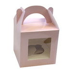 1 Hole Cupcake Box PASTEL PINK - Tag Handle
