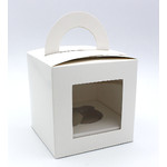 1 Hole Cupcake Box WHITE - Round Handle