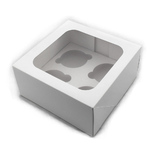 4 Hole Cupcake Box with insert WHITE