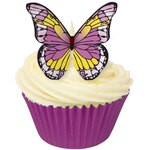 Edible Purple and Yellow Wafer Butterflies (12)