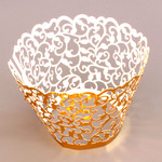 Cupcake Wrapper Metallic Gold Filigree (12)