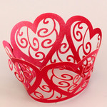 Cupcake Wrapper Pearl Red Hearts (12)