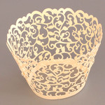 Cupcake Wrapper Pearl Ivory Filigree (12)