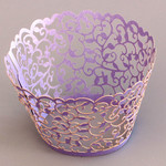 Cupcake Wrapper Pearl Lavender Filigree (12)