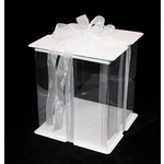 Clear Cake Box with Ribbon 8x8x10""
