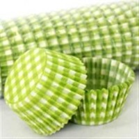 Patty Pan Lime Green Gingham 6x50pk (300)