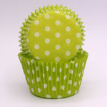 Confeta Patty Pan #408 Green/White Polka Dots (500)