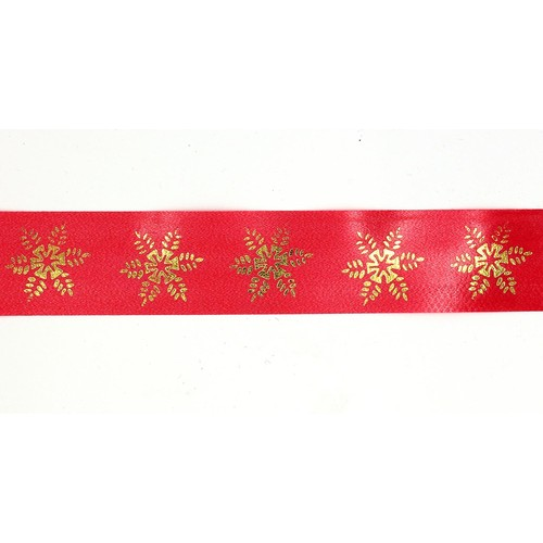 Snowflake Ribbon - Red 30mm Wide x 1m
